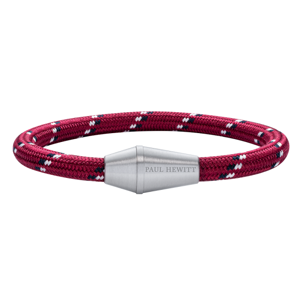 Bracelet Conic Silver Nylon Red Black White