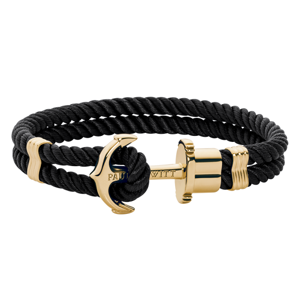 Anchor Bracelet Phrep Gold Nylon Black