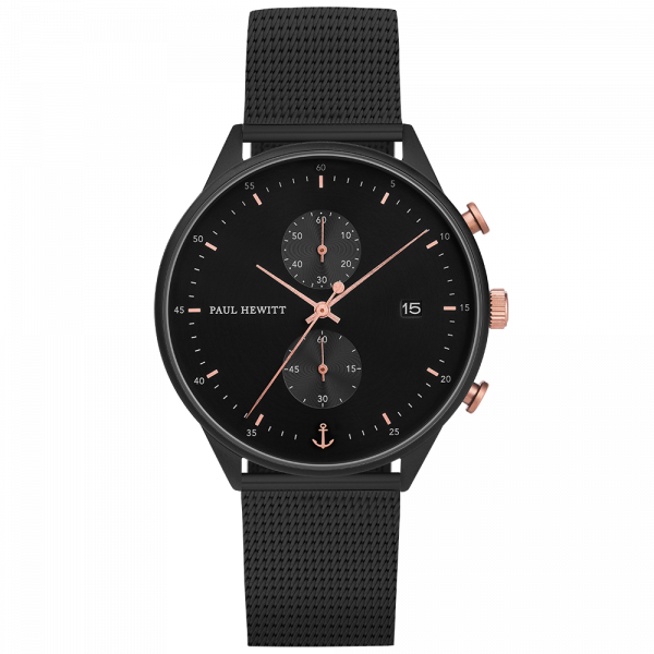 Watch Chrono Black Sunray Black Rose Gold Mesh Black