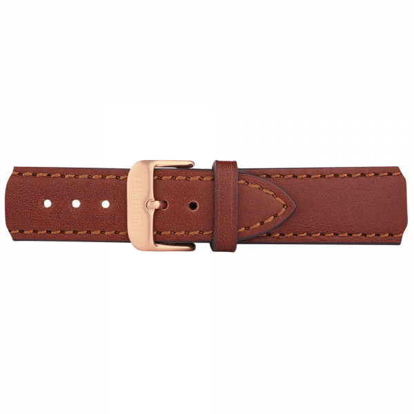Watch Strap Leather Rose Gold Brown 20 mm
