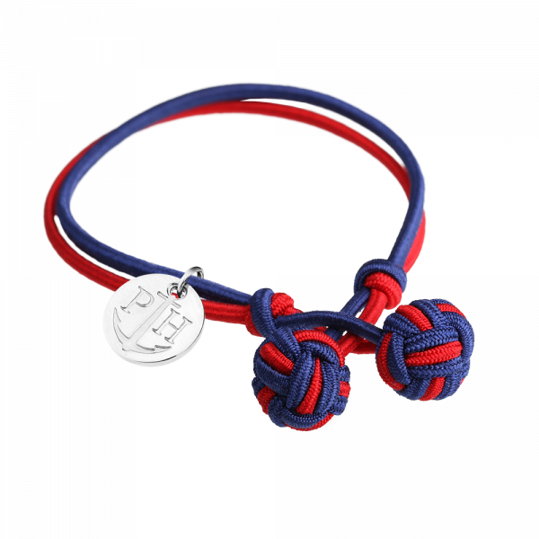 Knotbracelet Silver Nylon Navy Blue Red