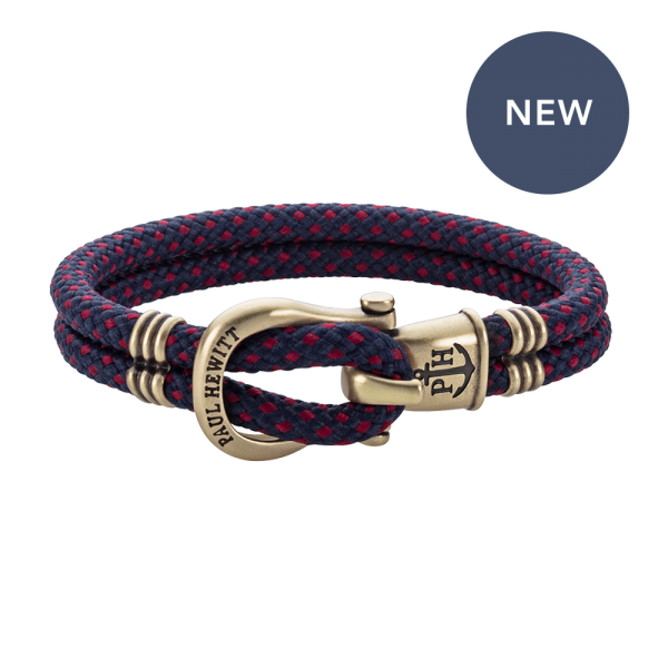 Bracelet Phinity Brass Nylon Navy Blue-Red