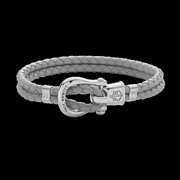 Bracelet Phinity Argenté Cuir Gris