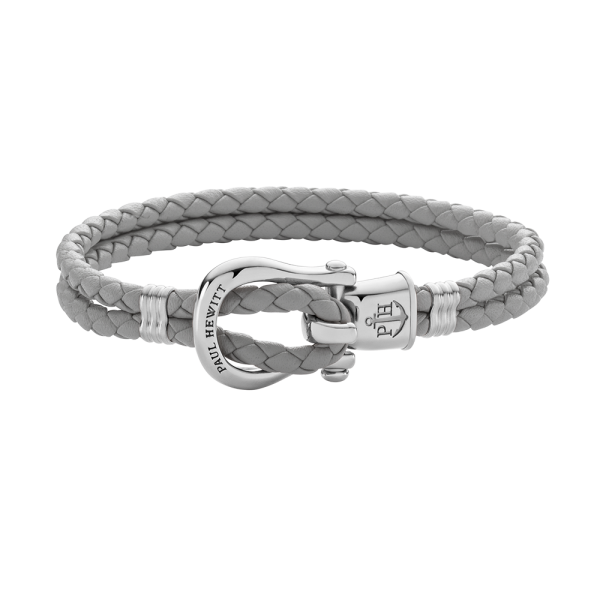 Armband Phinity Silber Leder Grau