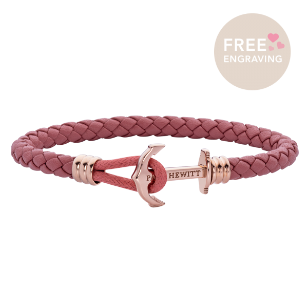 Anchor Bracelet Phrep Lite Rose Gold Leather Raspberry