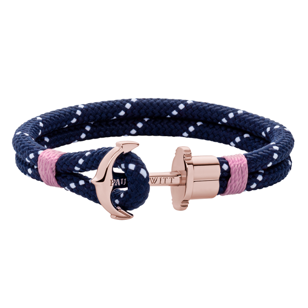 Anchor Bracelet Phrep Rose Gold Nylon Navy Blue White Light Pink