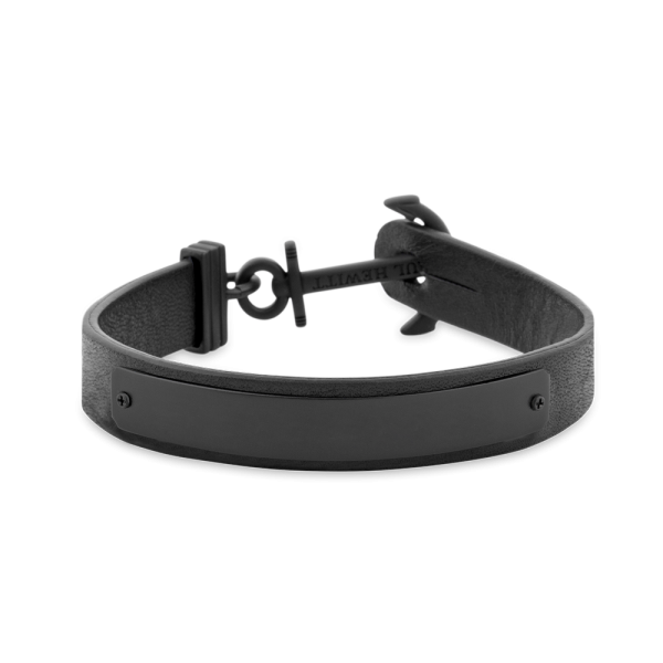 Anchor Bracelet Signum Black Leather Black
