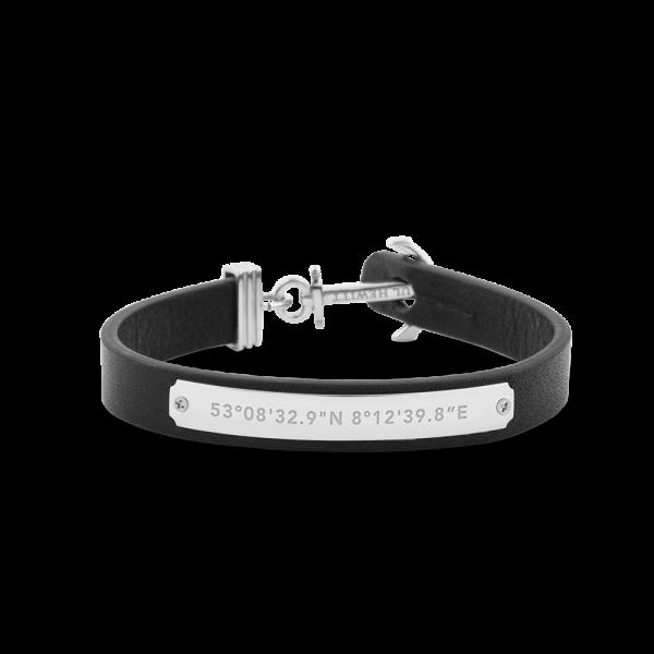 Anchor Bracelet Signum Silver Leather Black