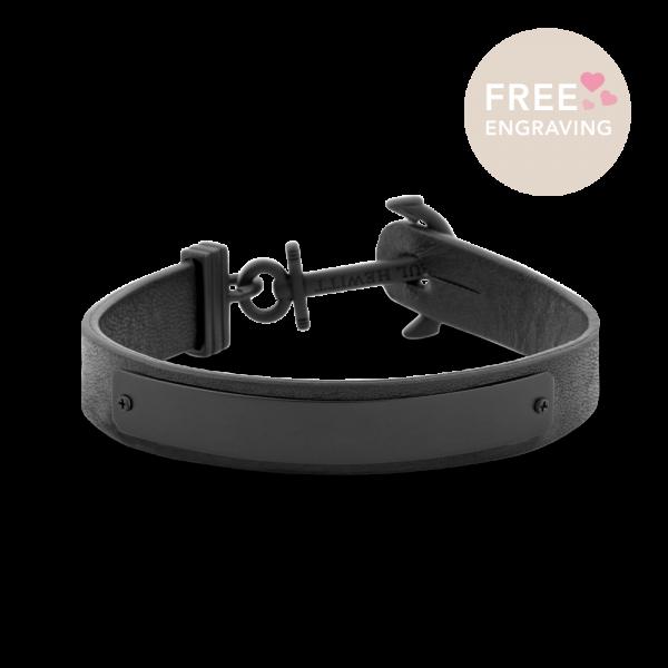 Anchor Bracelet Signum Black Leather Black