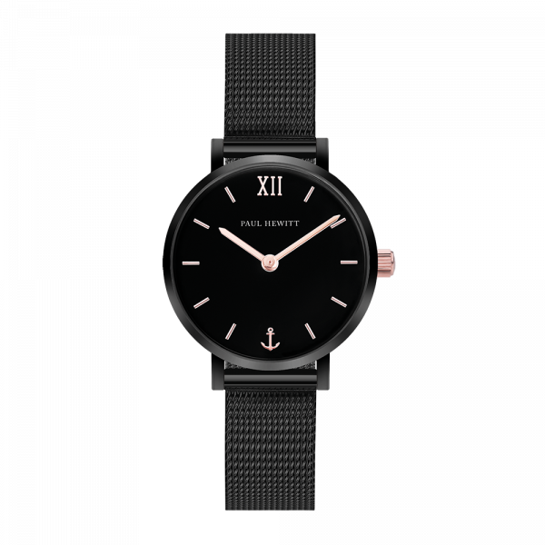 Watch Modest Black Sunray Black Rose Gold Mesh Black