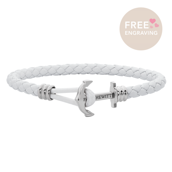 Anchor Bracelet Phrep Lite Silver Leather White