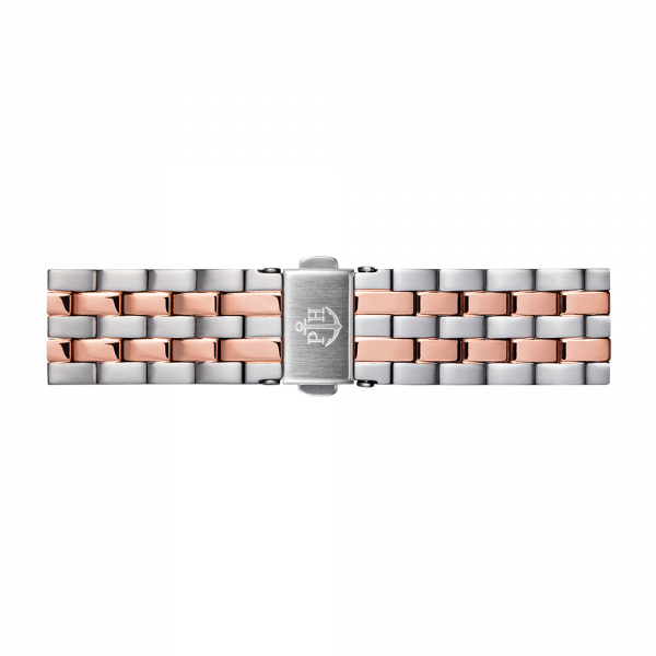 Bracelet de Montre Métallique Bicolor Or Rose Argenté 16 mm