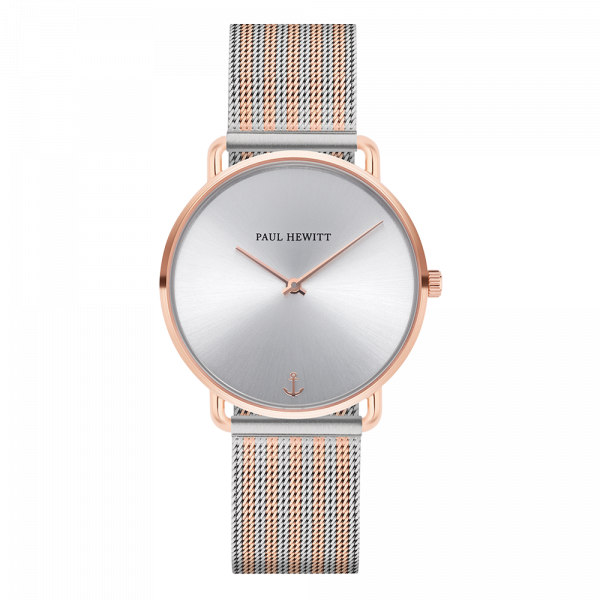 Montre Miss Ocean Silver Sunray Or Rose Mesh Bicolor Or Rose Argenté