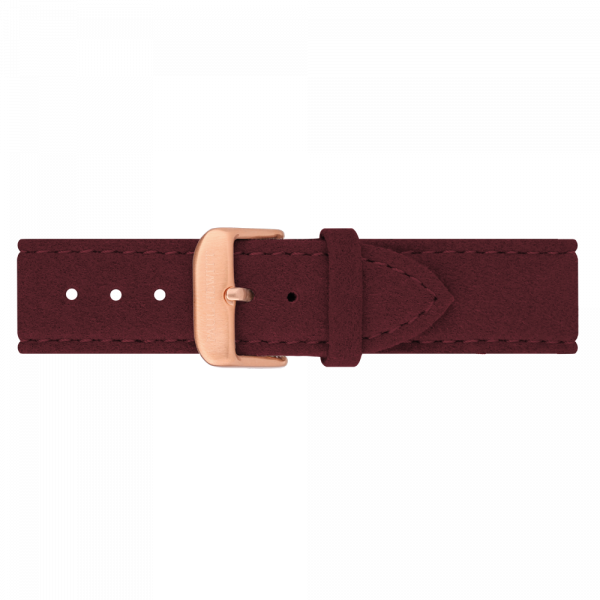 Uhrenarmband Alcantara Roségold Dark Berry 20 mm