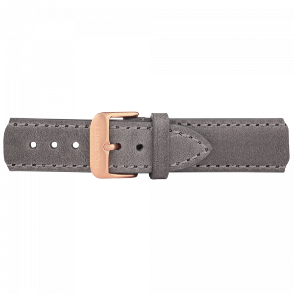 Watch Strap Leather Rose Gold Grey 20 mm