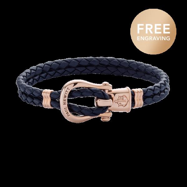 Bracelet Phinity Rose Gold Leather Navy Blue