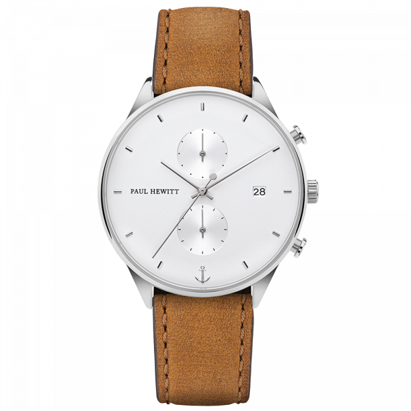 Watch Chrono White Sand Silver Leather Mustard
