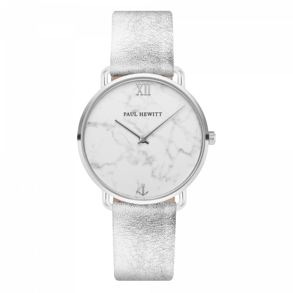 Watch Miss Ocean Marble Silver Leather Liquid Silver