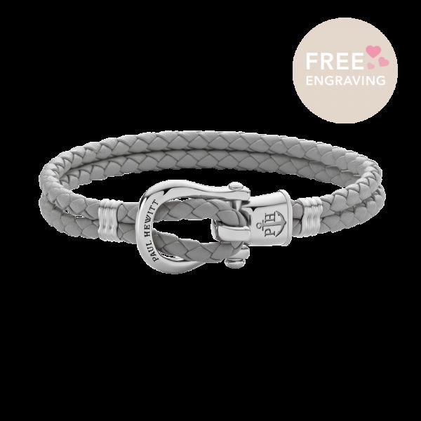 Bracelet Phinity Silver Leather Grey