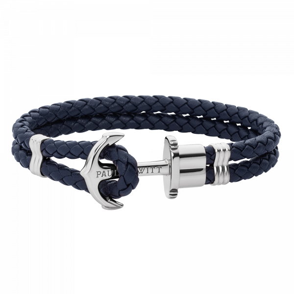 Anchor Bracelet Phrep Silver Leather Navy Blue