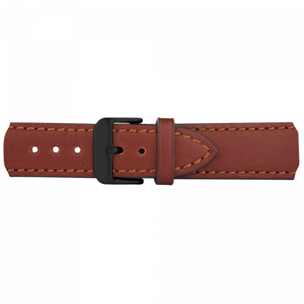 Watch Strap Leather Black Brown 20 mm