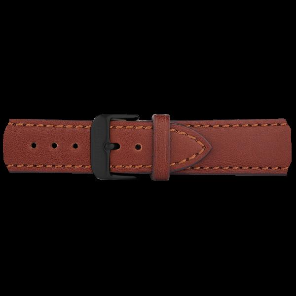 Uhrenarmband Leder Schwarz Braun 20 mm