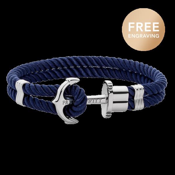 Anchor Bracelet Phrep Silver Nylon Navy Blue