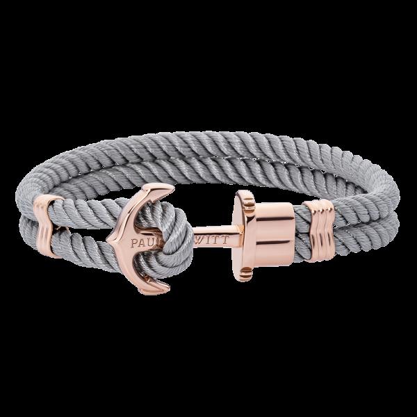 Bracelet Ancre Phrep Or Rose Nylon Gris