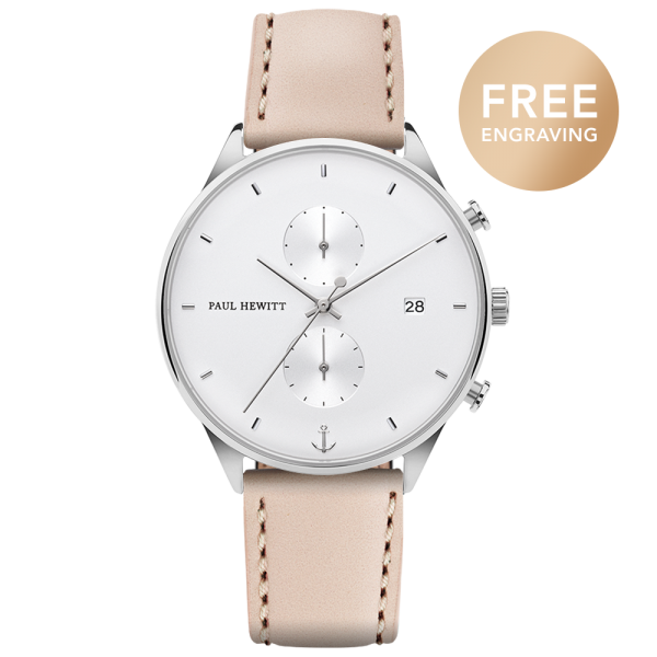 Watch Chrono White Sand Silver Leather Hazelnut