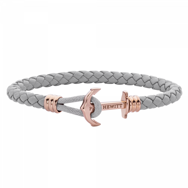 Anchor Bracelet Phrep Lite Rose Gold Leather Grey