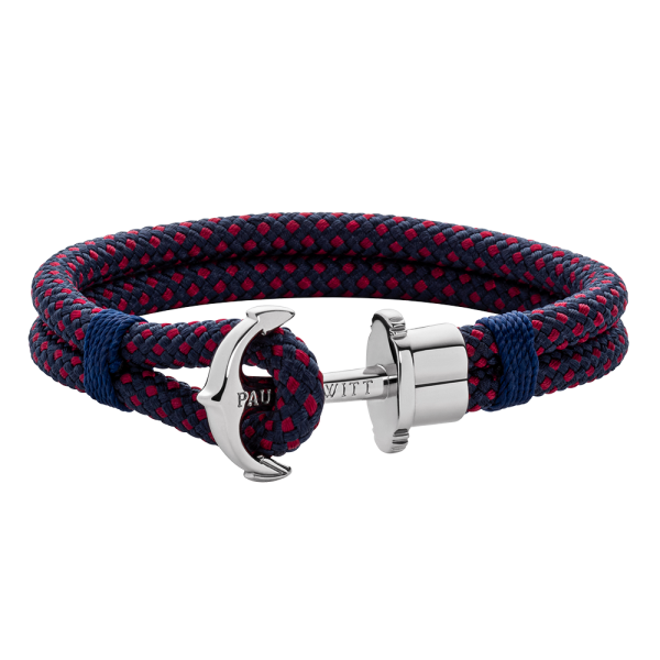 Anchor Bracelet Phrep Silver Nylon Navy Blue Red