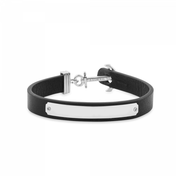 Anchor Bracelet Signum Silver Leather Black