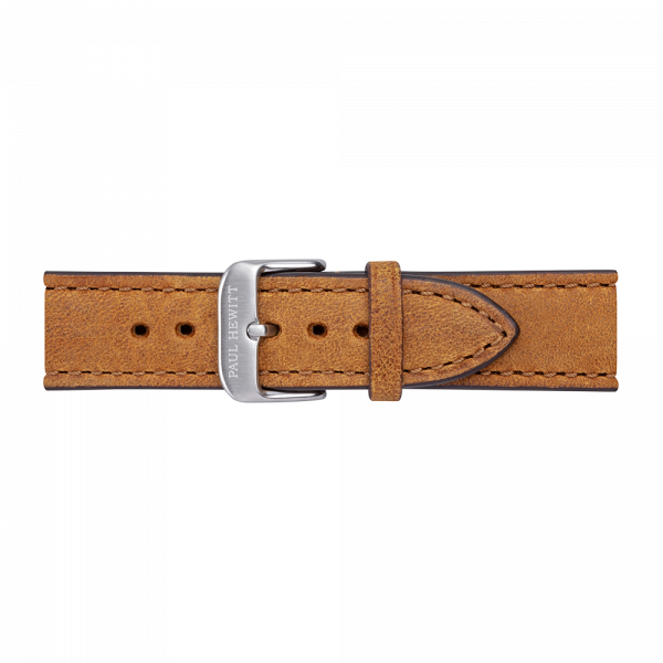 Watch Strap Leather Silver Mustard 20 mm