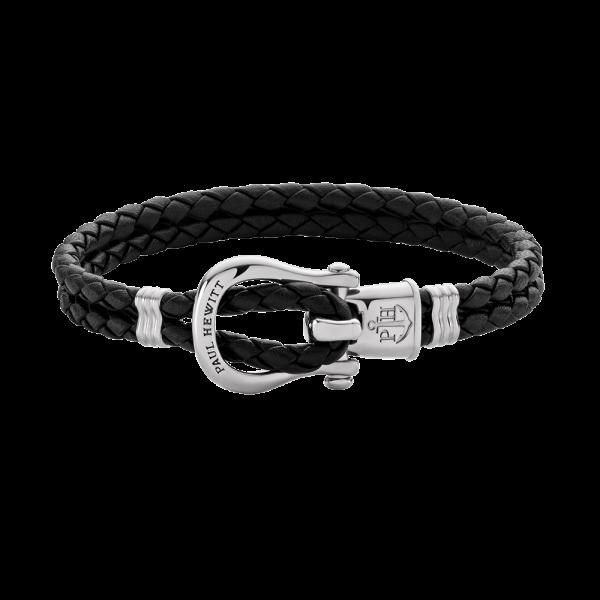 Bracelet Phinity Argenté Cuir Noir