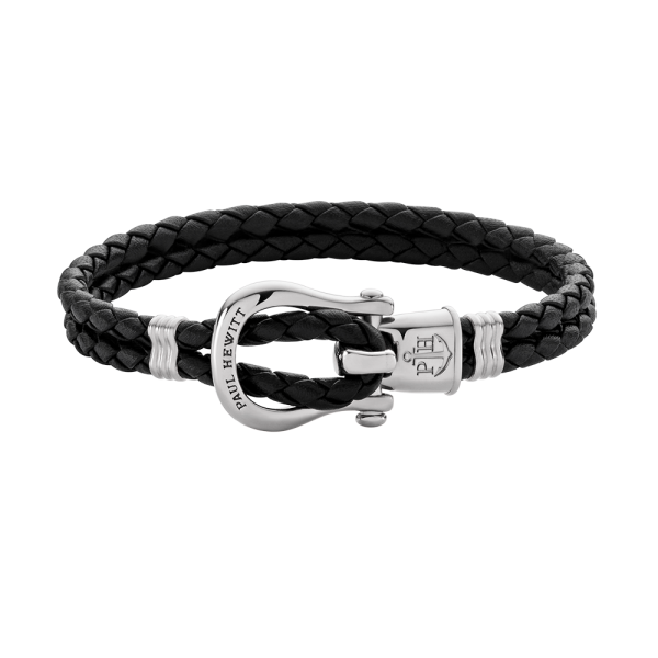 Armband Phinity Silber Leder Schwarz