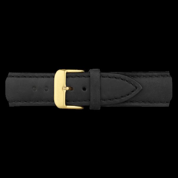 Bracelet de Montre Cuir Or Noir 20 mm