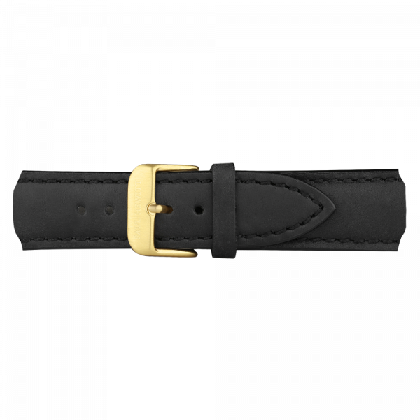 Uhrenarmband Leder Gold Schwarz 20 mm