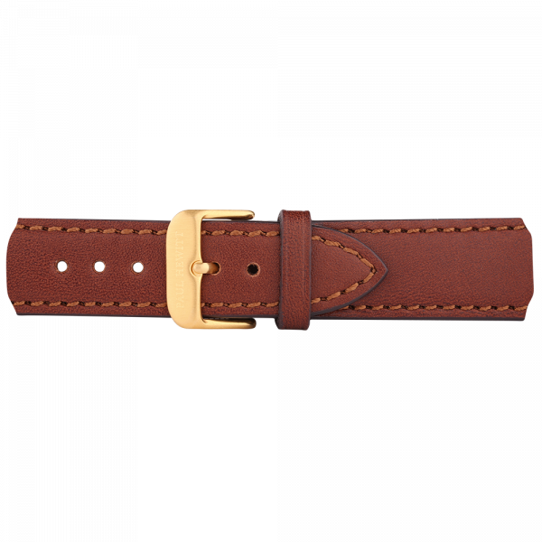 Watch Strap Leather Gold Brown 20 mm