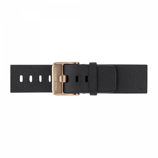 Watch Strap Leather Bronze Pure Black 20 mm