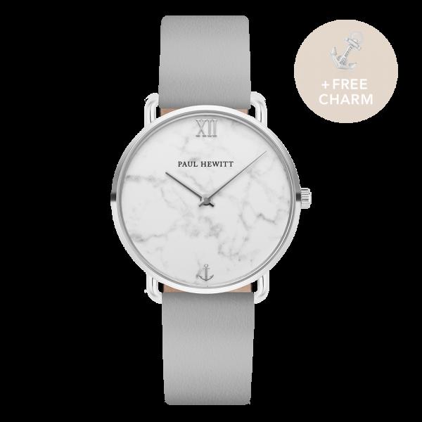 Uhr Miss Ocean Marble Silber Leder Graphite