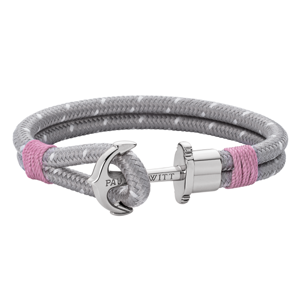 Anchor Bracelet Phrep Silver Nylon Grey Light Pink