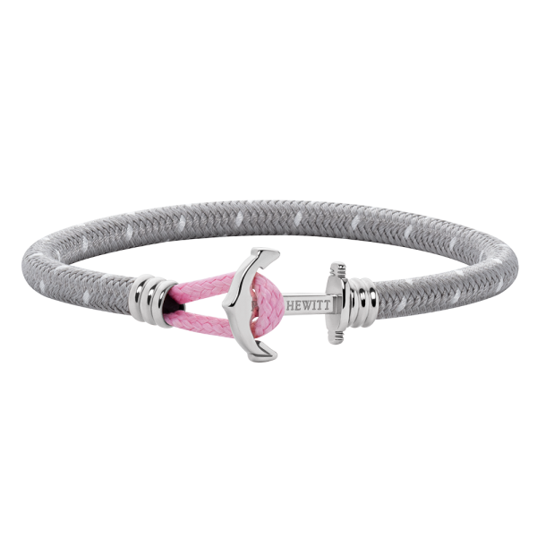 Anchor Bracelet Phrep Lite Silver Nylon Grey White Light Pink