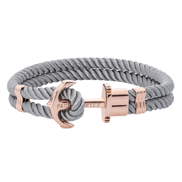 Anchor Bracelet Phrep Rose Gold Nylon Grey