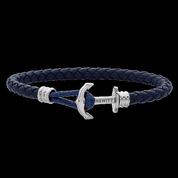 Bracelet Ancre Phrep Lite Argenté Cuir Bleu Marine