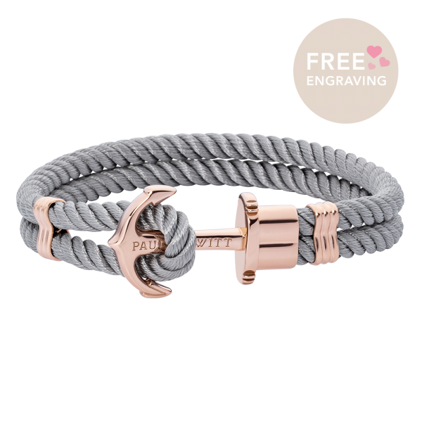 Anchor Bracelet Phrep Rose Gold Nylon Grey