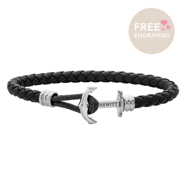 Bracelet Ancre Phrep Lite Argenté Cuir Noir