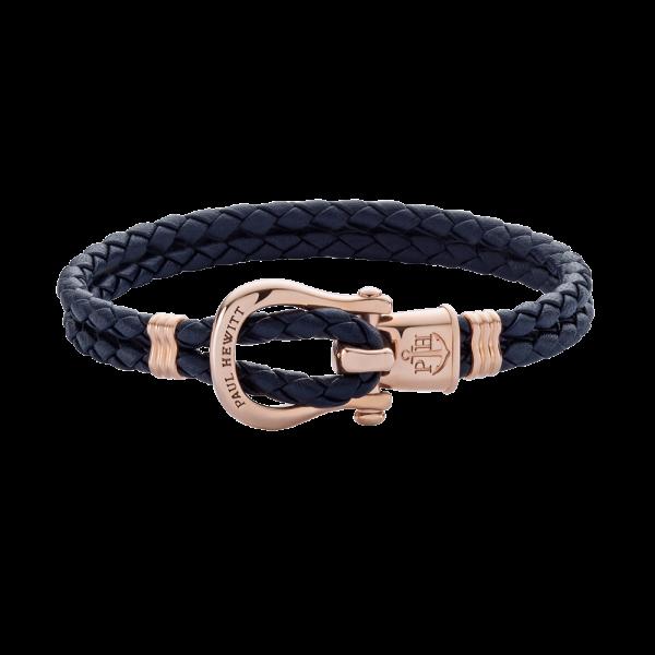 Bracelet Phinity Or Rose Cuir Bleu Marine