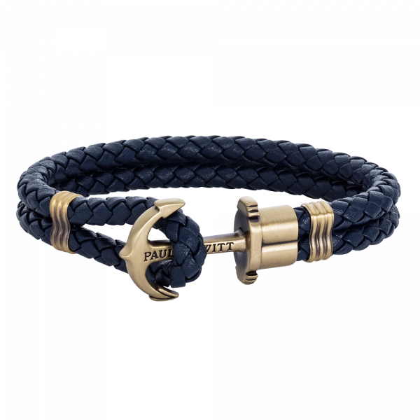 Ankerarmband Phrep Messing Leder Marineblau