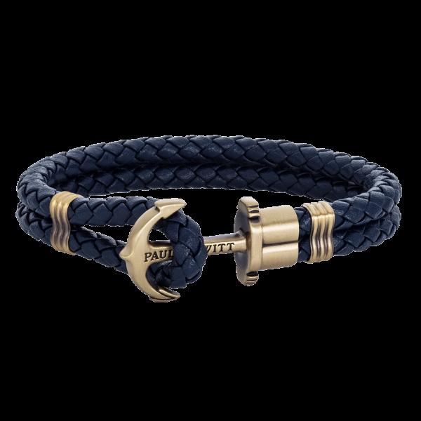 Bracelet Ancre Phrep Laiton Cuir Bleu Marine