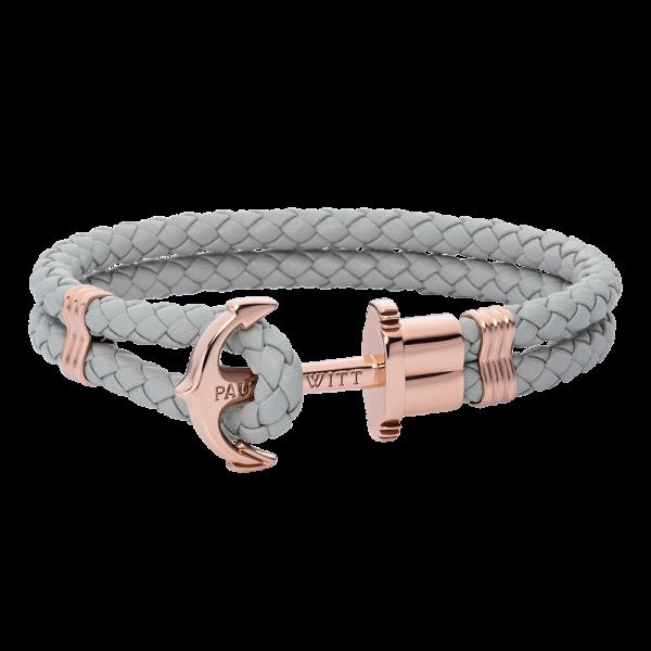 Bracelet Ancre Phrep Or Rose Cuir Gris